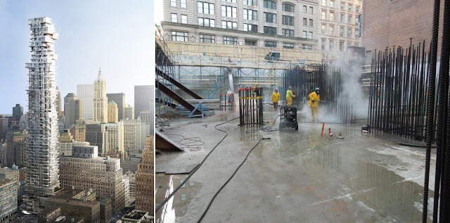 Picture of the 56 Leonard Street construction site and rendering showing finished tower