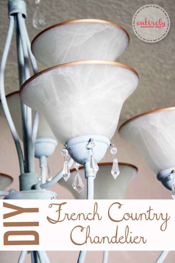 DIY French Country Chandelier. Take a builder-grade light fixture and make it awesome using chalk paint and other tricks. Click to see how. www.entirelyeventfulday.com #chandelier #lighting #diy #chalkpaint