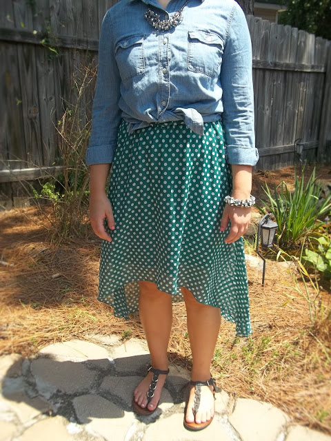 chambray shirt five ways polka dot high low dress statement jewelry black sandals fall transition