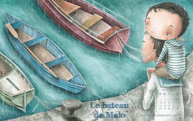 Fond d'écran avril 2012 n°4 - Le bateau de Malo d'Ingrid Chabbert et Fabiana Attanasio, en librairie le 19 avril 2012 (1680x1050)