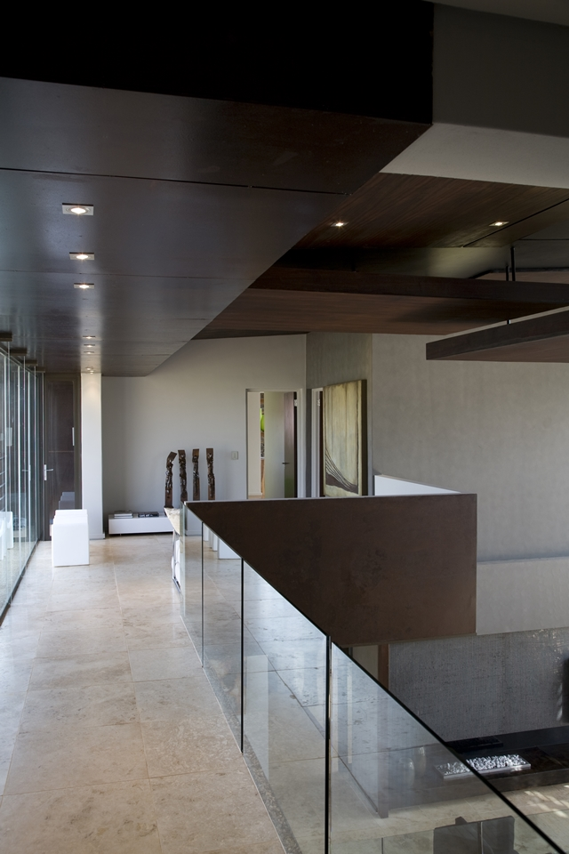 Interior bridge with glass railing