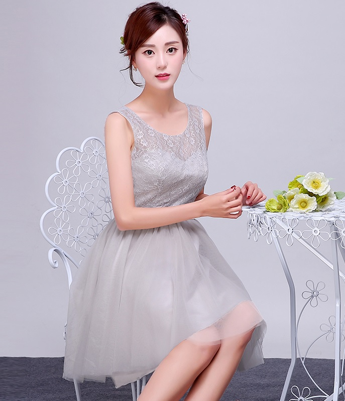 New 2016 Silver Gray Lace Bridesmaids Midi Dress
