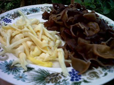 jamur kuping dan kim cam (bunga sedap malam)