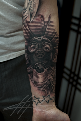 gas mask tattoo