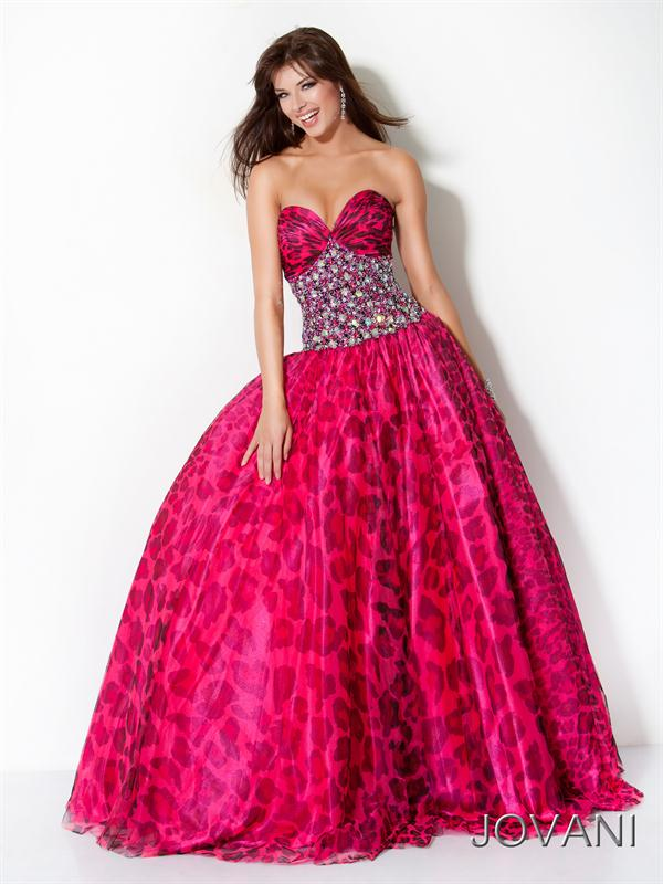 Pink Cheetah Print Prom Dress