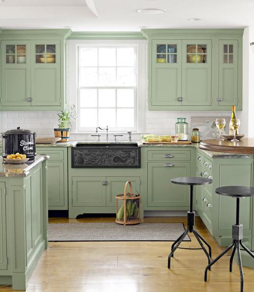 Turquoise Blue White Beach Theme Kitchen: Inredningskaos: Grönt Lantkök