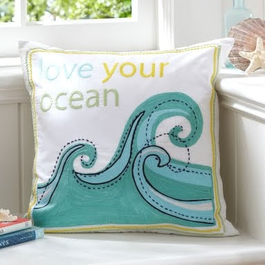 ocean pillow at Pottery Barn Teenagers