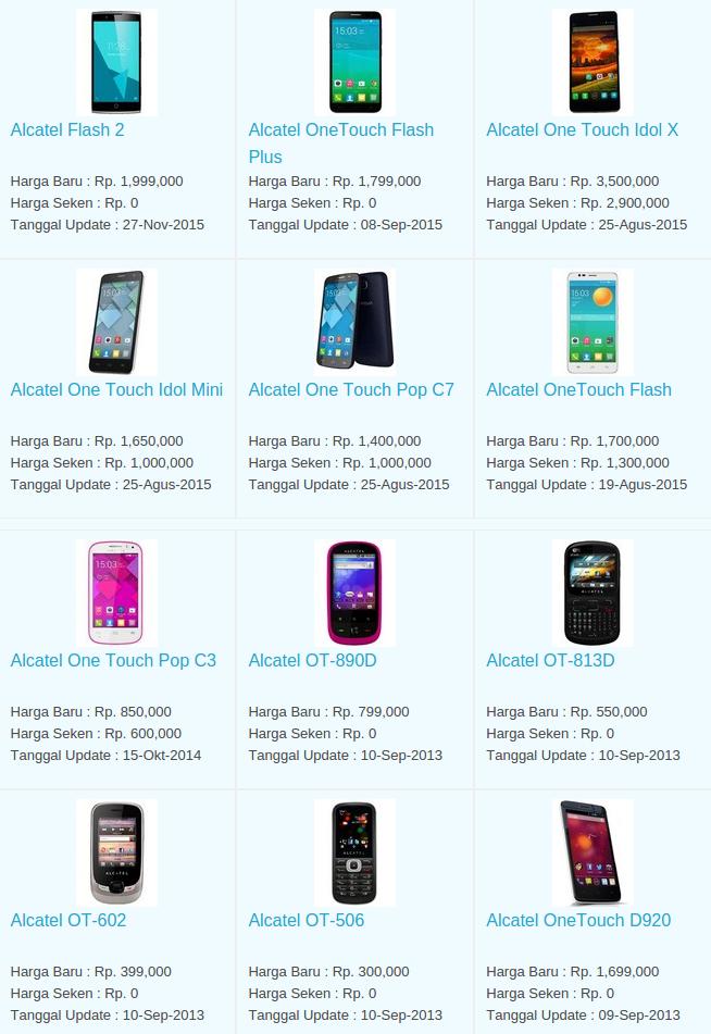 Daftar Harga Hp Alcatel November 2015