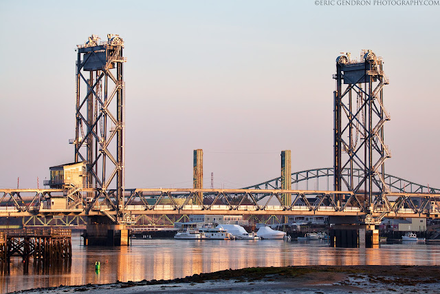 A summer sunrise over the portsmouth memorial bridge