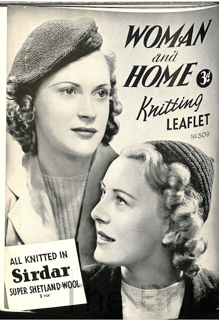 The Vintage Pattern Files Free 1930's Knitting Pattern - A Beret and a Jaunty Cap