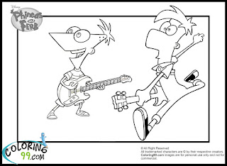 phineas and ferb playing guitar coloring pages