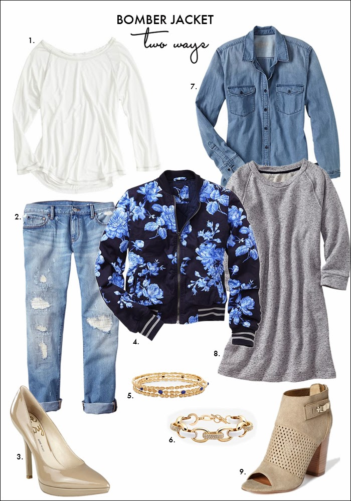 bomber jacket, floral, navy trend, distressed denim, booties, open toe booties, denim shirt, sweatshirt dress, how to wear bomber jacket, how to wear baseball jacket, how to wear distressed denim, fashion, style, trends