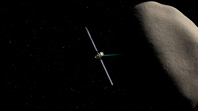 Artist rendition of Dawn spacecraft orbiting Ceres. Credit: NASA/JPL-Caltech/UCLA/McREL