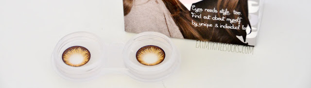Close-up of the honey brown Maxlook Pinky Brown circle lenses from Klenspop.