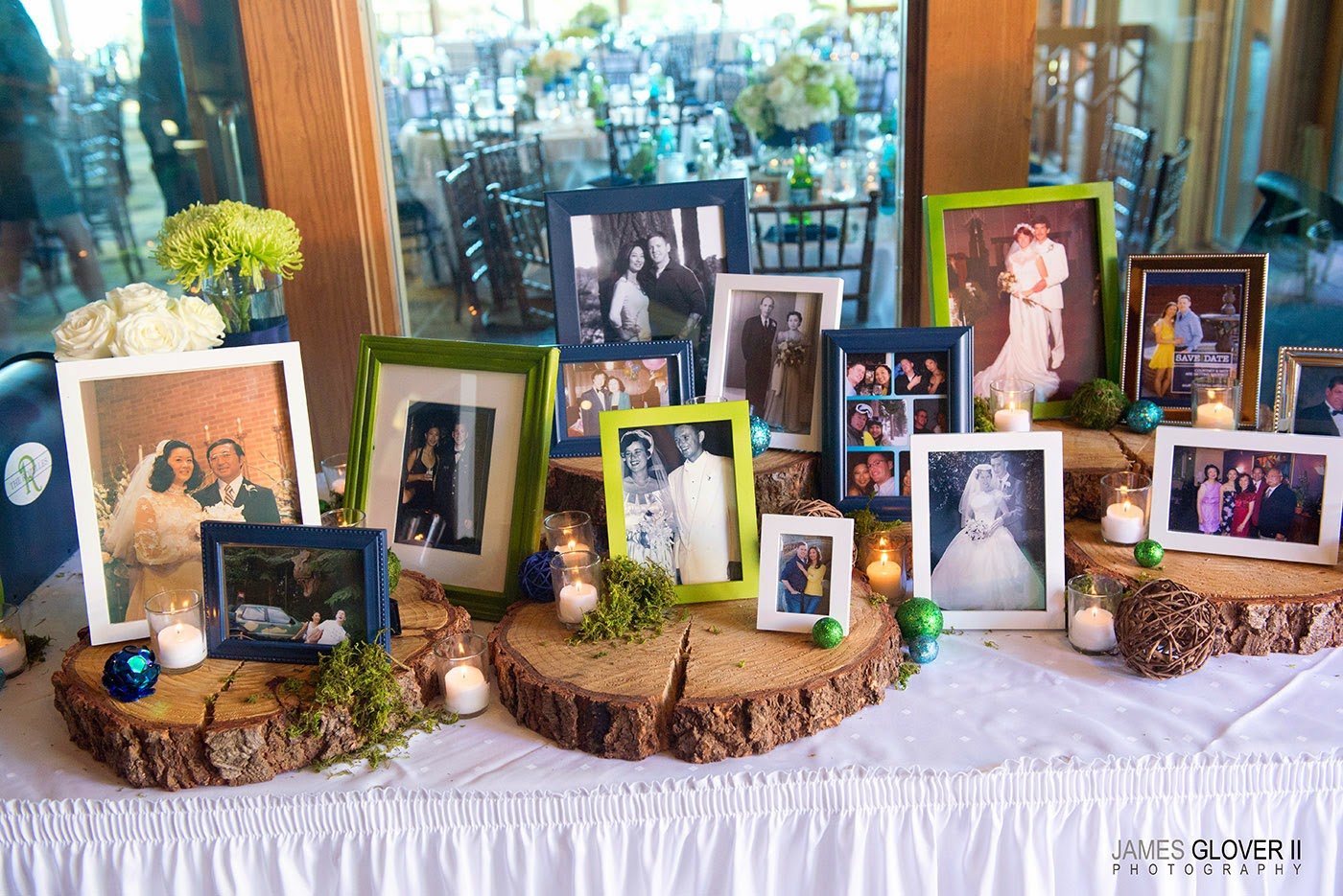 Rustic Wedding Family Photo Display | James Glover Photography | Take the Cake Events