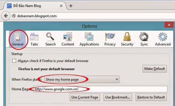 Cách cài đặt Google làm trang chủ cho Firefox