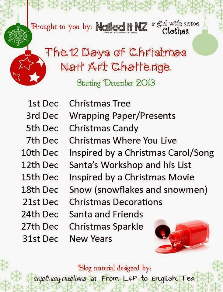 12 days of christmas nail art challenge - On The 12th Day Of Christmas Song