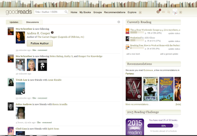 This is my Goodreads profile page, you can see my newsfeed on the left and other widgets of the site on the right side