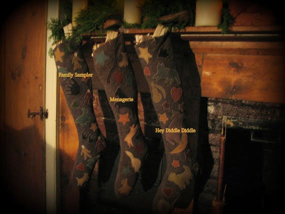 menagerie woolen christmas stockings i so admire the work of cee of early style penny rugs on etsy her designs are so vintage and primitive in detail - Primitive Christmas Stockings