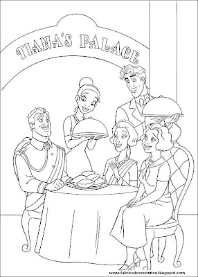 Tiana and Prince Naveen family coloring pages