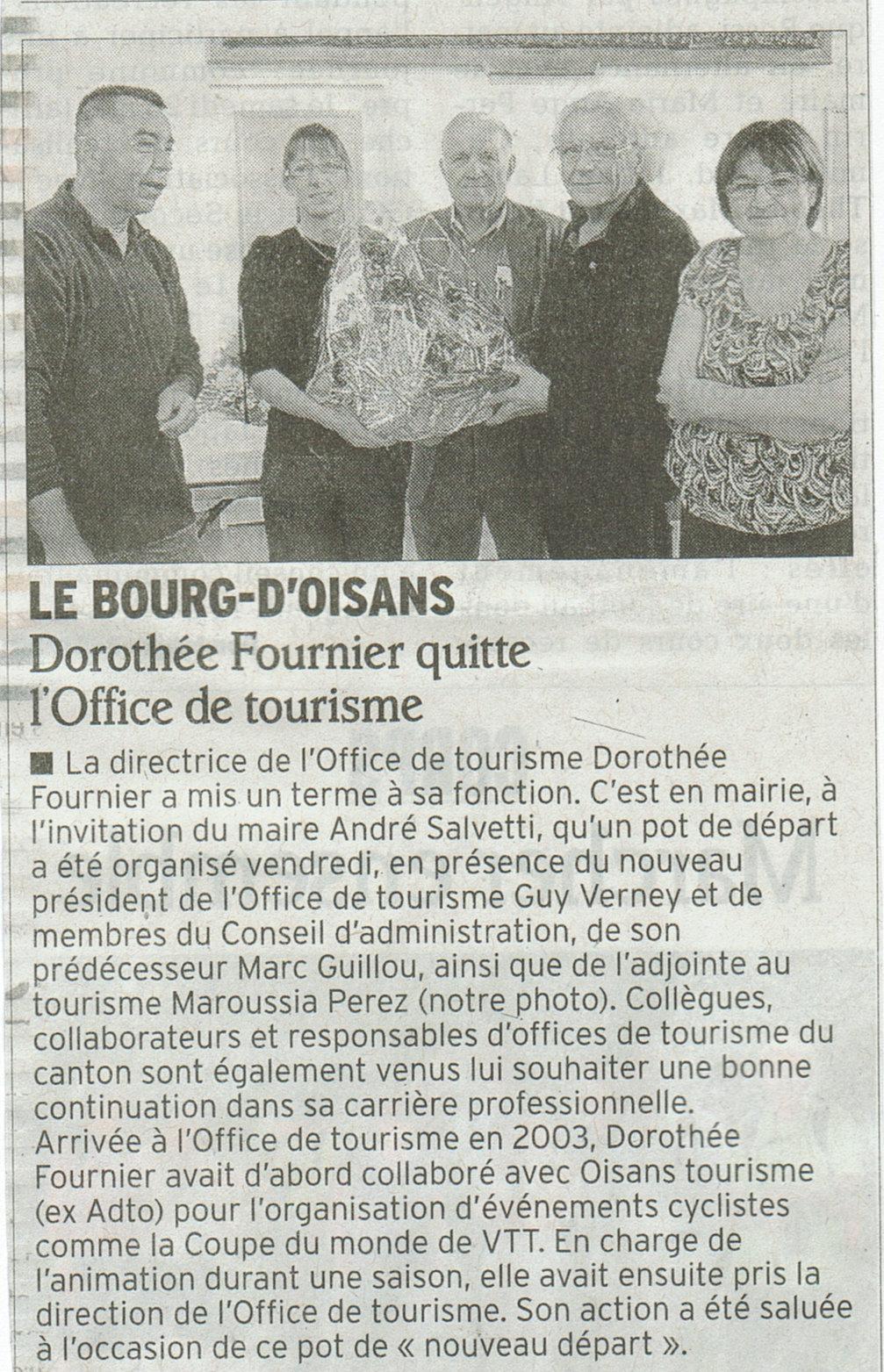 News de l 39 office de tourisme bourg d 39 oisans d part de doroth e fournier - Bourg d oisans office tourisme ...
