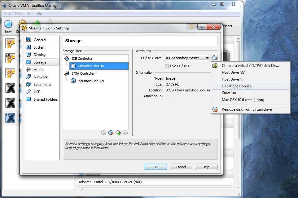 How to install OS X Mountain Lion in Virtualbox with Hackboot