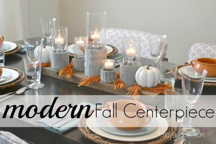 Sweater candle holder for a modern fall centerpiece Modern fall table decorations