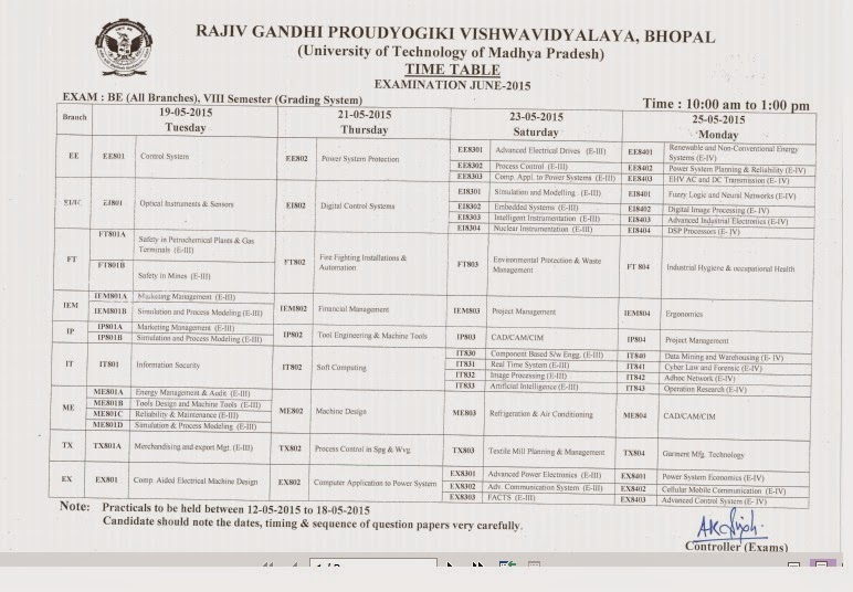 Rgpv time table be btech bpharma time table rgpv 1st for Rgpv time table 6th sem 2015