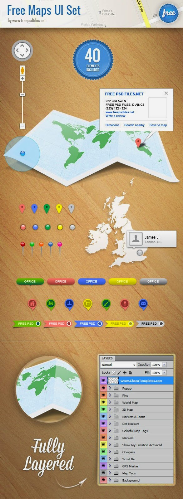 Maps UI Set PSD