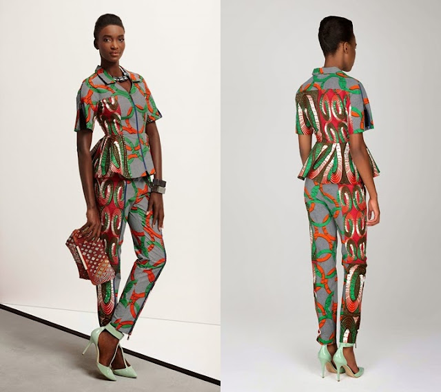 2015 Vlisco African print women peplum top and trouser style.