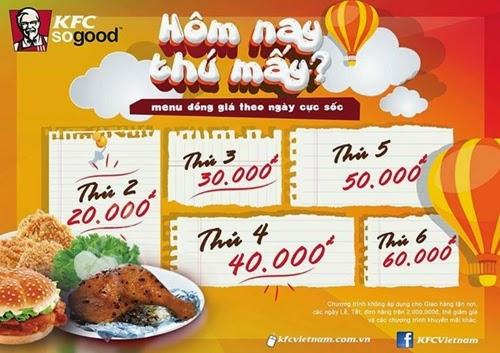 Hấp dẫn Menu đồng giá theo ngày CỰC SỐC tại KFC 1