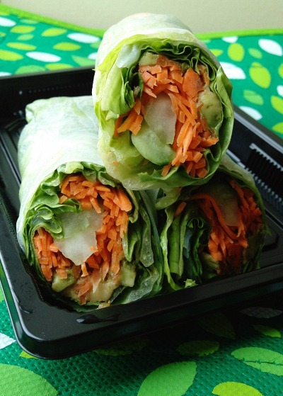 Fresh Market Veggie Wraps with Avocado Carrot and Cucumber