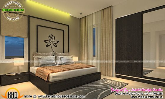 Bedroom interior design, Kerala