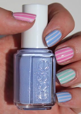 Essie Pastel Stripes Nail Art with Bikini So Teeny