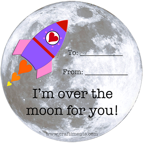 "Free printable ""I'm over the moon for you!"" rocket valentine."
