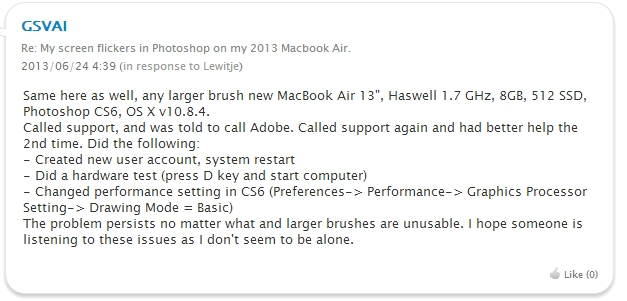 macbook air mid 2013 photoshop関連トラブル