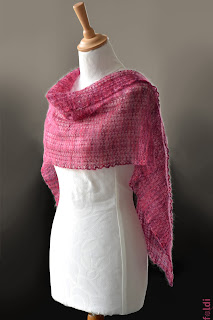 machine knitted passap red cyclamen pink lace stole scarf wrap