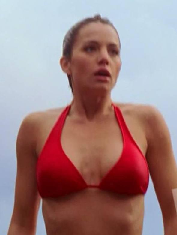 style erica durance exposing her figure in red bikni