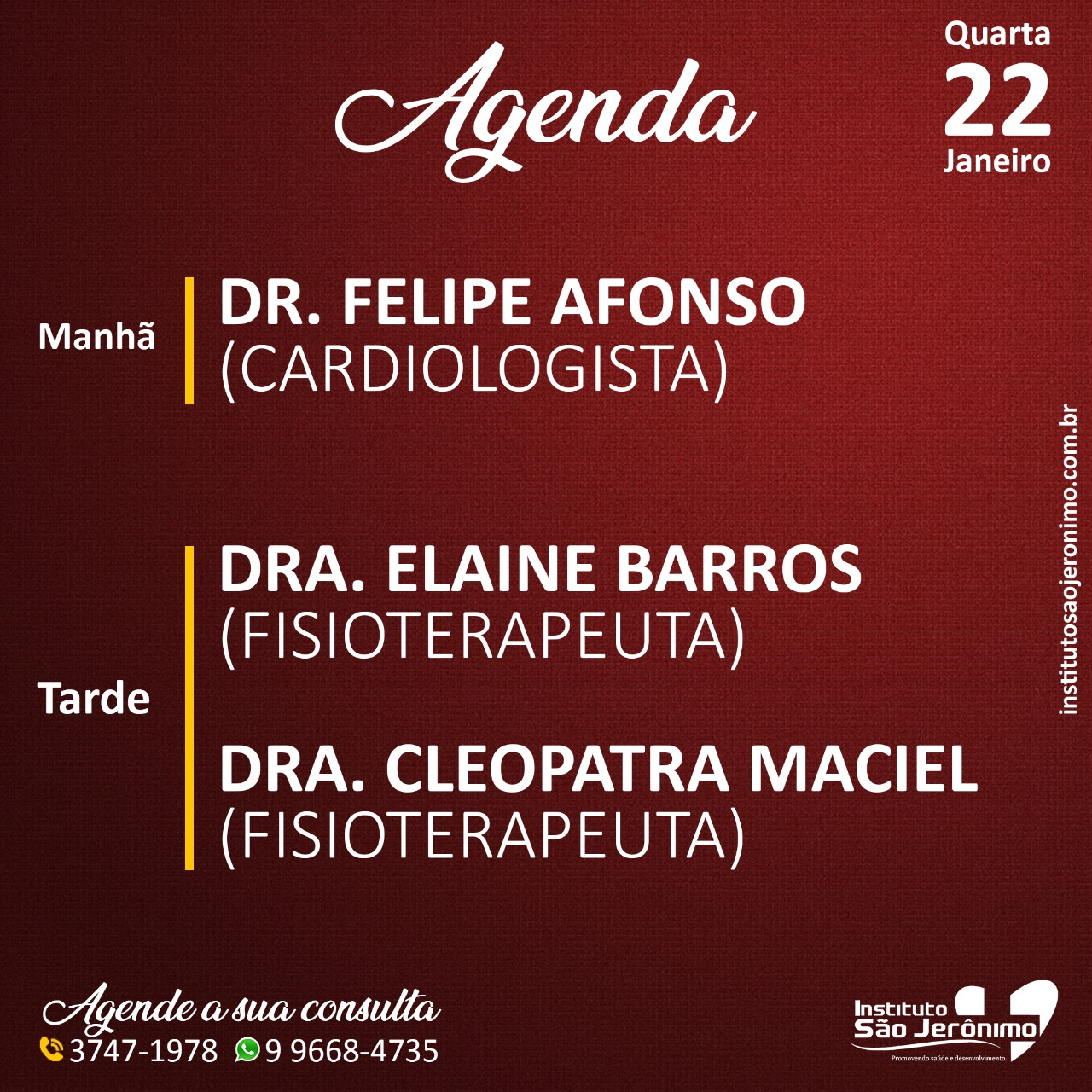 Agenda Instituto São Jerônimo