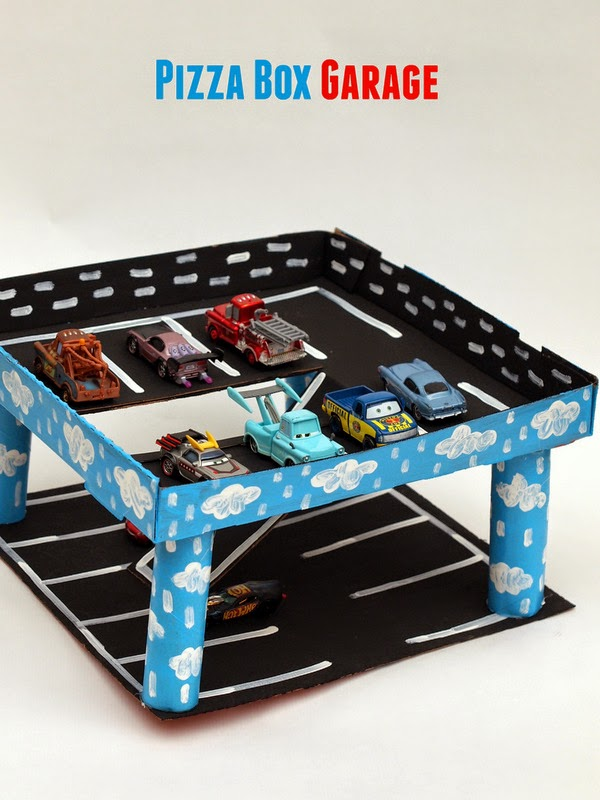 Recycled pizza box car garage- Super fun toy to make with or for car-loving kids!