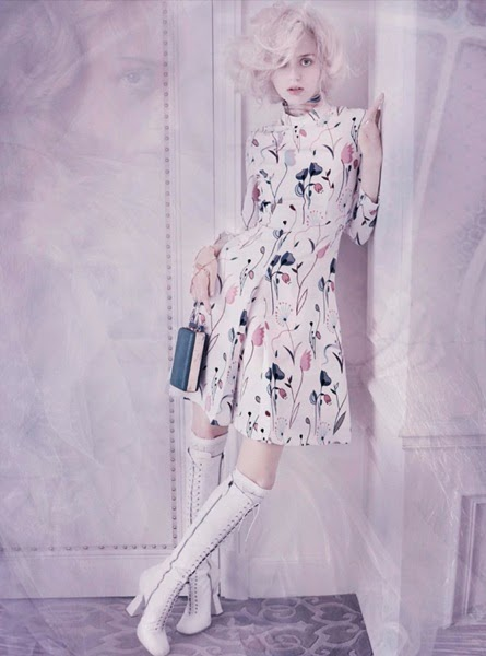 Miu Miu 2014 SS Floral Printed Crepe Dress
