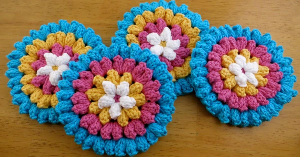 Da S Crochet Connection Popcorn Flower Coasters