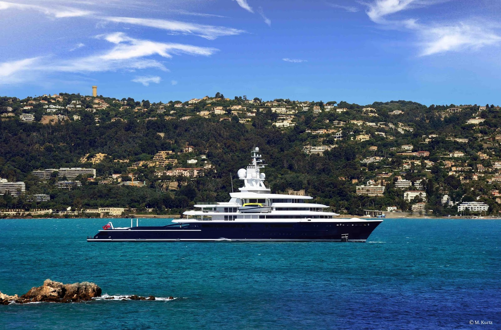 Superyacht Luna at distance
