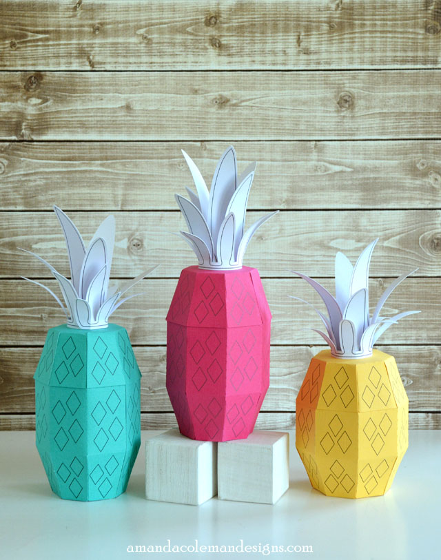 3D Paper Pineapple Boxes