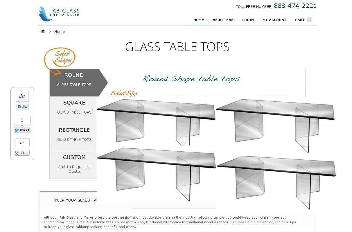 Fab Glass and Mirror Rectangle Glass Table Tops