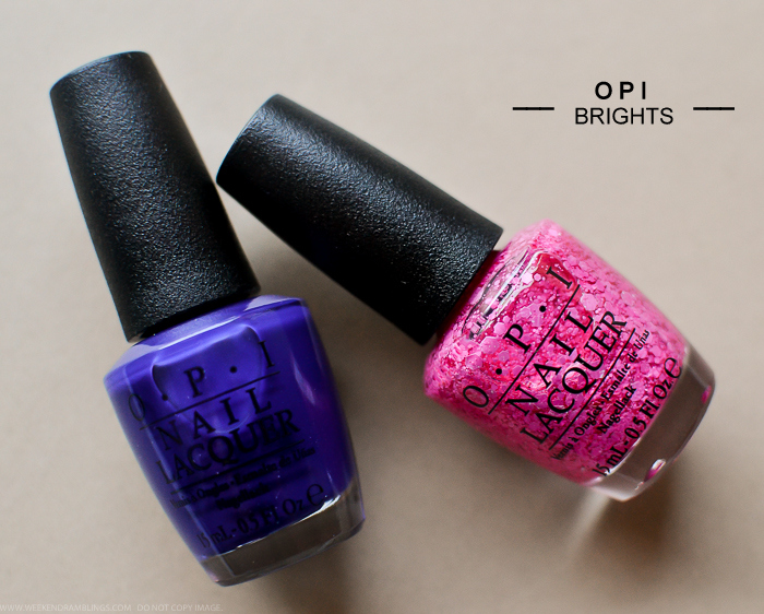 OPI Nail Polish Brights 2015 Collection 2015 My Car Has Navy-Gation On Pinks and Needles
