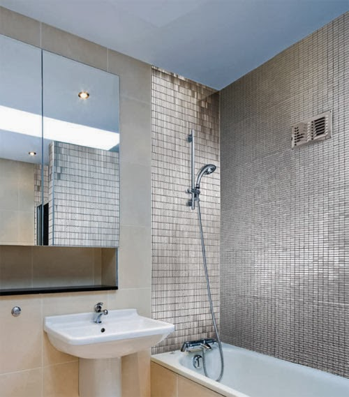 Stainless steel tile and its using in construction work - Salle de bain avec frise mosaique ...