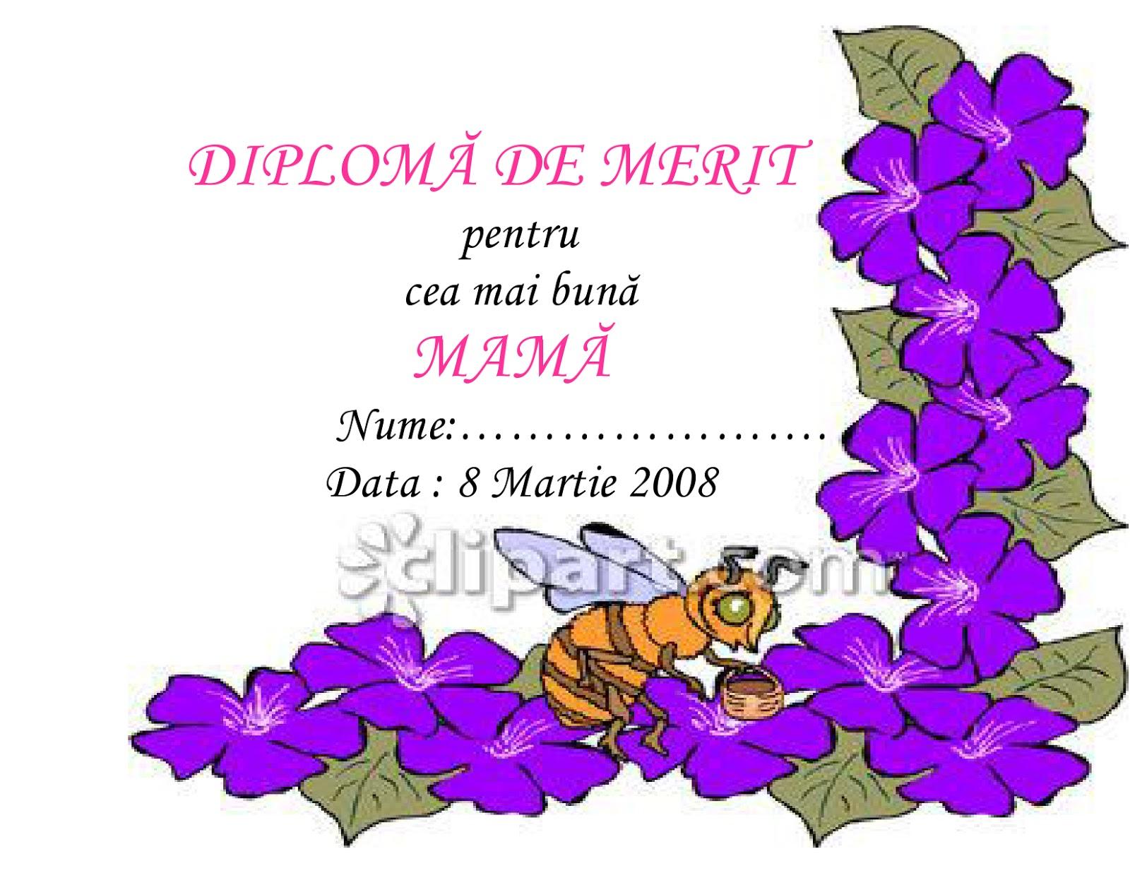 Cu Flori Diploma De Merit Pentru Cea Mai Buna Mama Diploma Diploma
