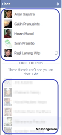 Online Offline Advanced Chat Settings Turn on some friends applied