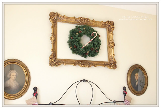 Christmas Guest Bedroom-Vintage Gold Frame-Antique Lithograph-Christmas Wreath-From My Front Porch To Yours